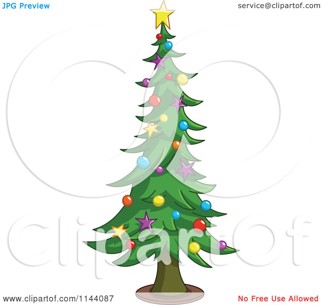Tall Christmas Tree Cartoon.Cartoon Of A Tall Christmas Tree With Star And Bauble