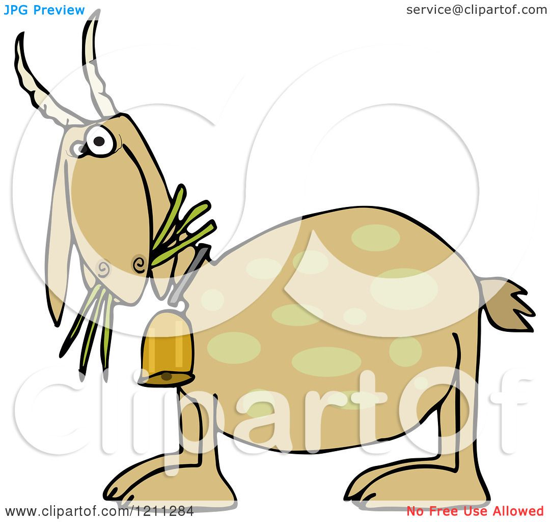 Cartoon of a Tan Goat Eating Grass and Wearing a Bell - Royalty Free ...