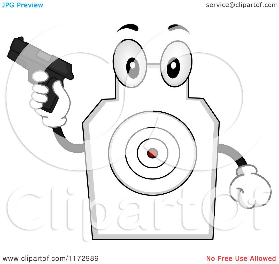 cartoon of a target shooting mascot holding a gun