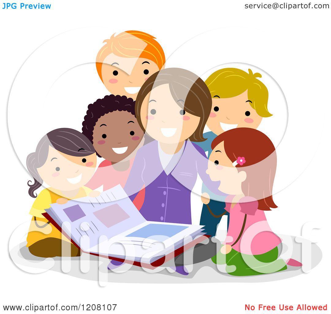 Cartoon of a Teacher Reading a Story Book to Diverse ...