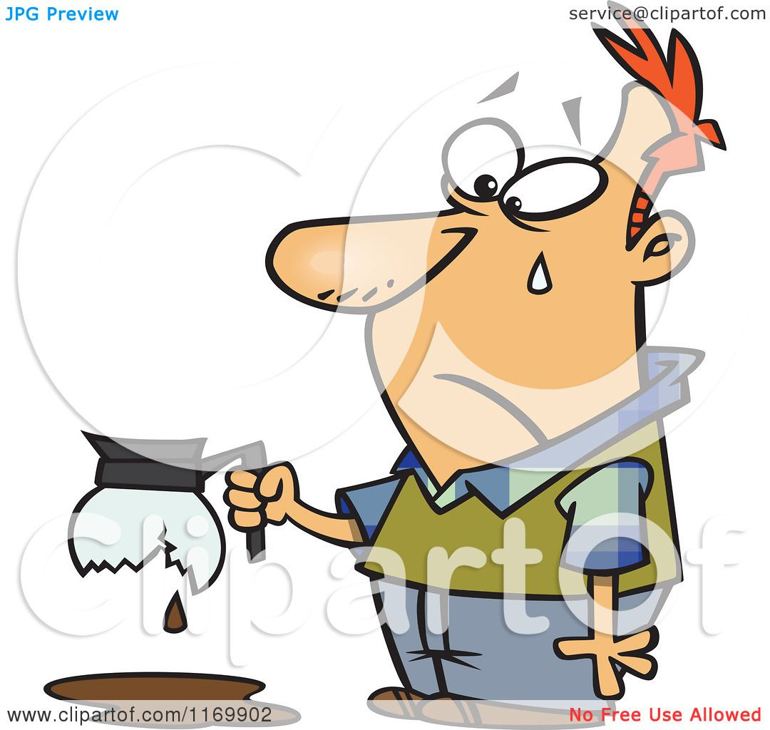 Cartoon of a Tearing Man Holding a Broken Coffee Pot - Royalty Free Vector Clipart by Ron ...