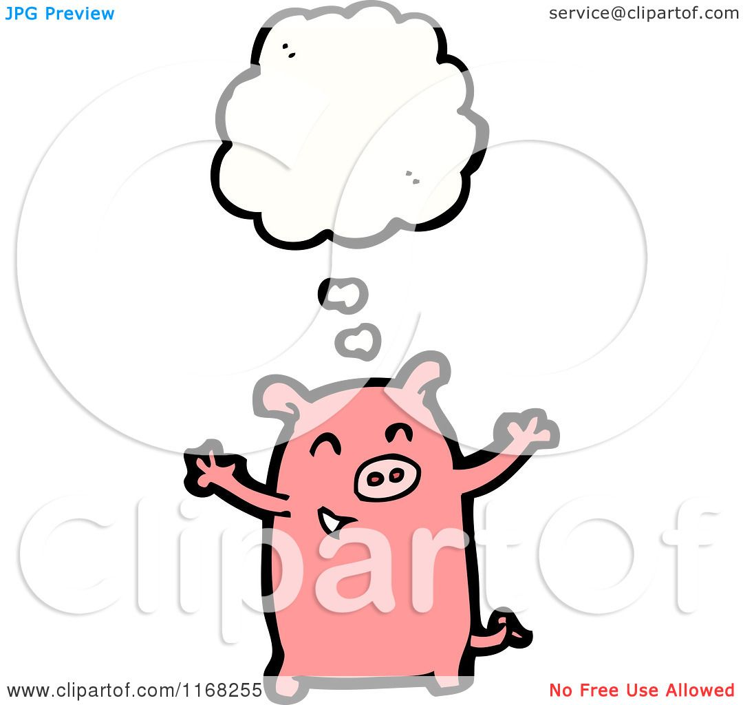 Cartoon Of A Thinking Pig Royalty Free Vector