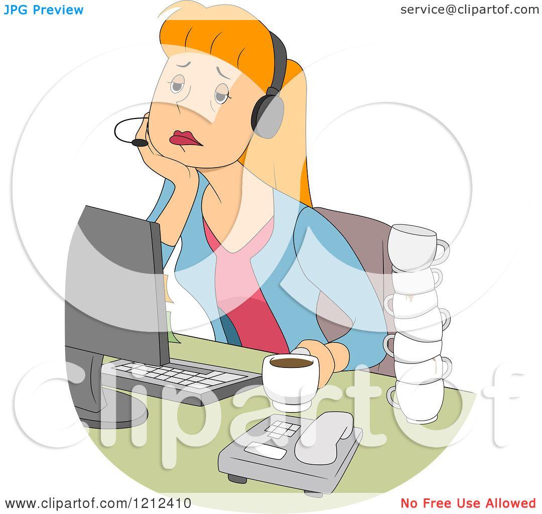 cartoon of a tired female customer service call center