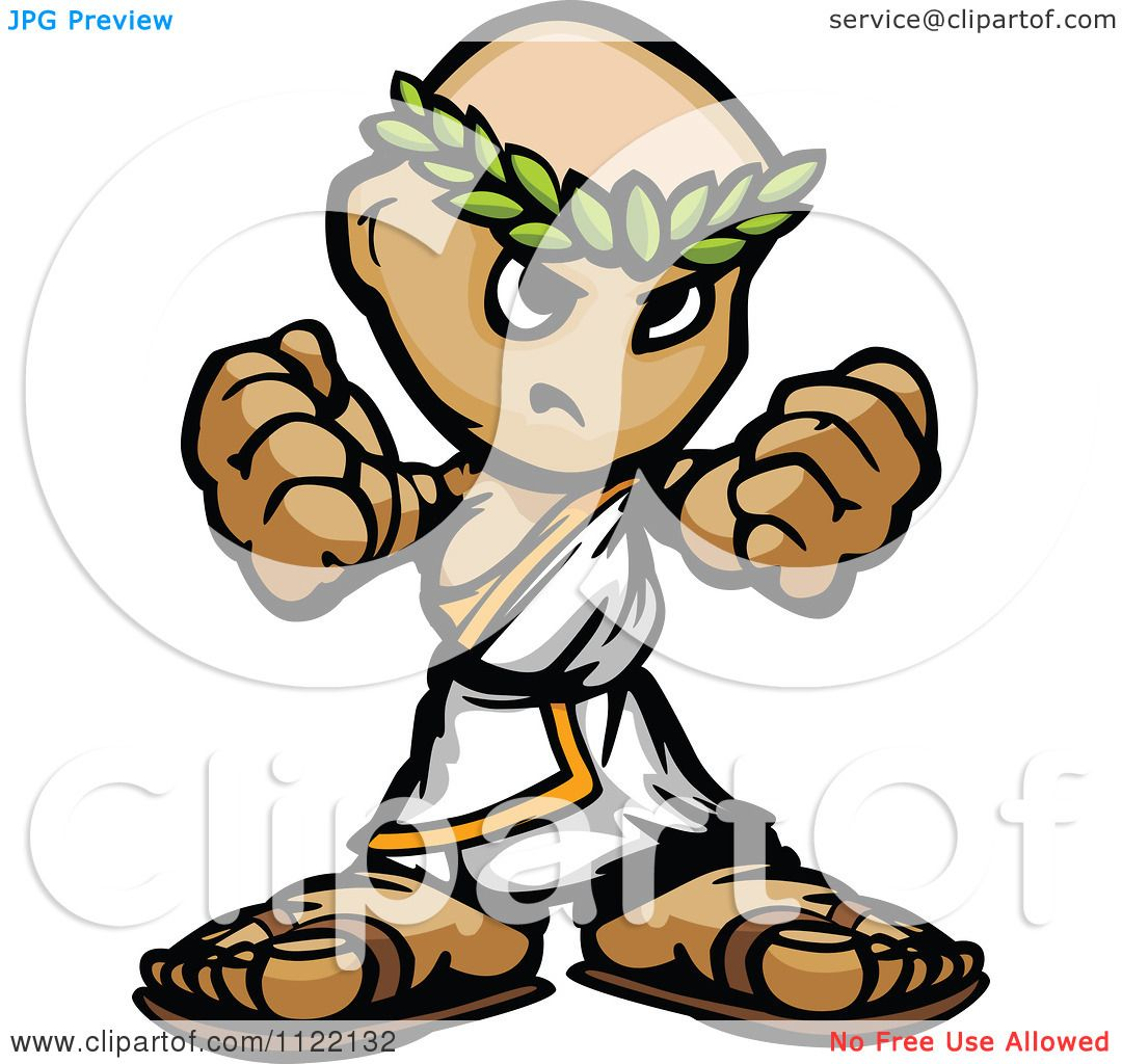 Cartoon Of A Tough Guy In A Toga Holding Up Fists - Royalty Free ...