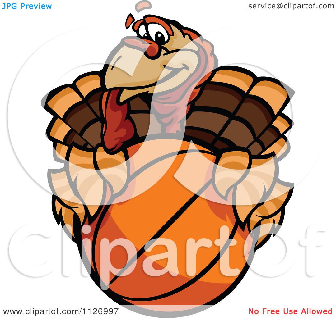Cartoon Of A Turkey Bird Mascot Holding A Basketball ...