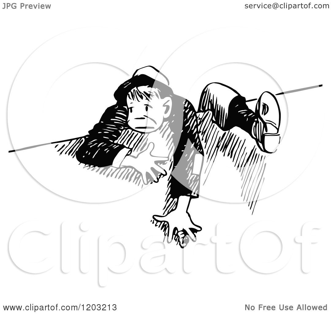 cartoon of a vintage black and white boy climbing over a wall
