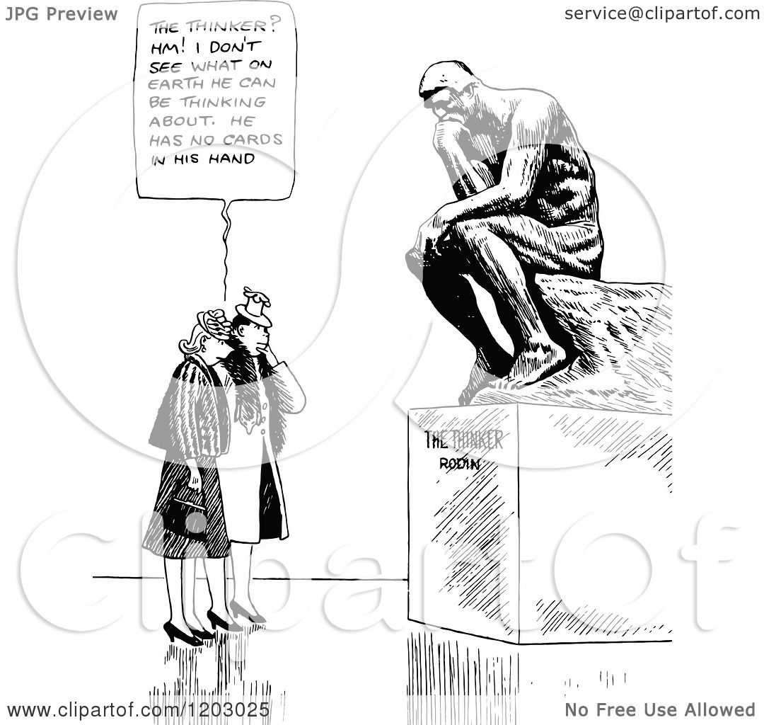 cartoon of a vintage black and white couple and the thinkers clipart free People Thinking Clip Art