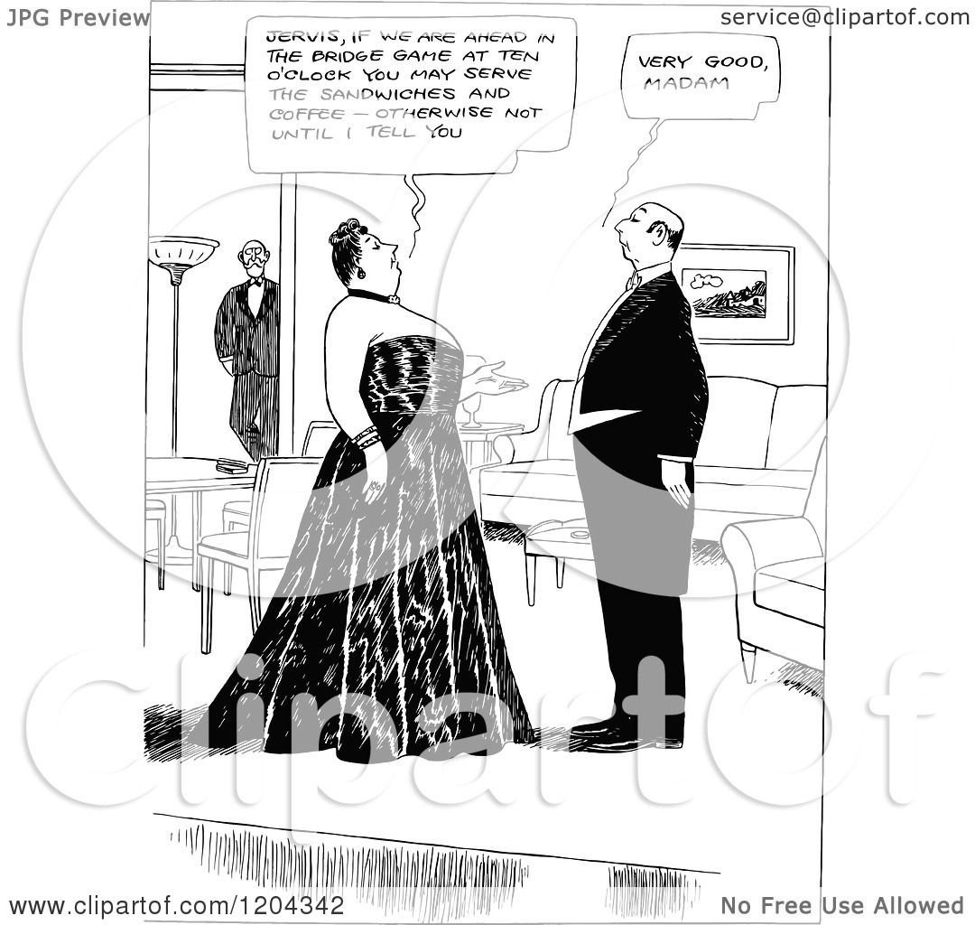 Cartoon Of A Vintage Black And White Madam And Butler