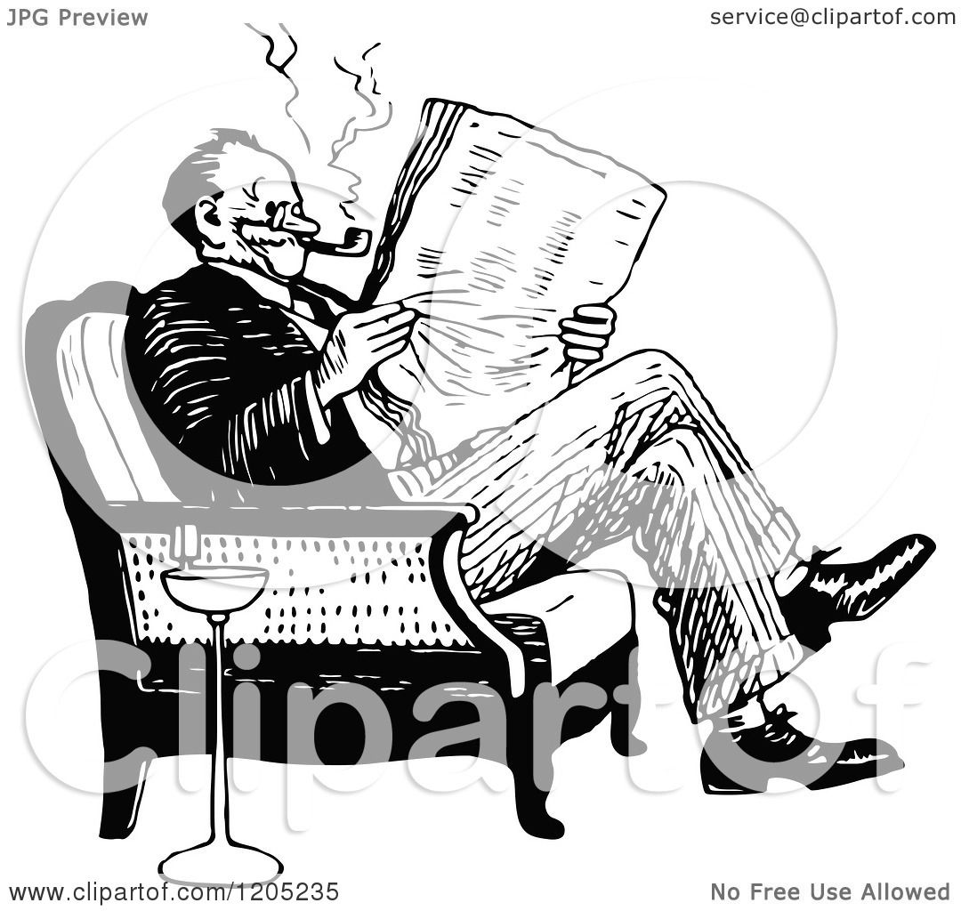 Cartoon Of A Vintage Black And White Man Reading Newspaper