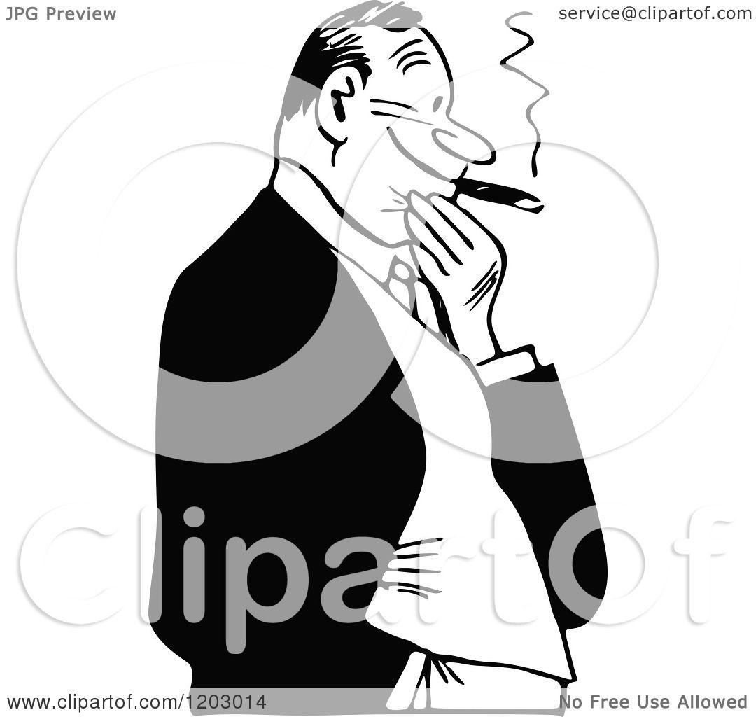 Cartoon Of A Vintage Black And White Man Smoking A Cigar