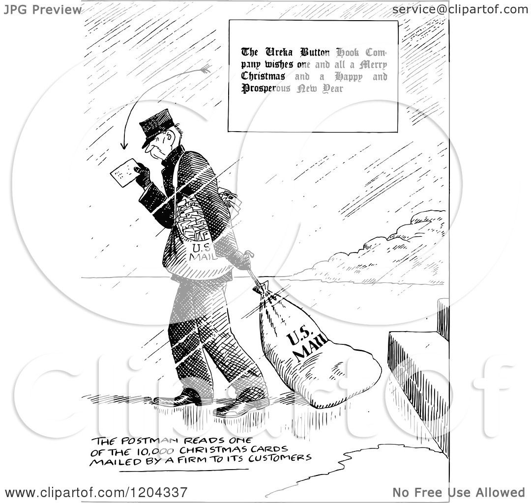 cartoon of a vintage black and white postman dragging a