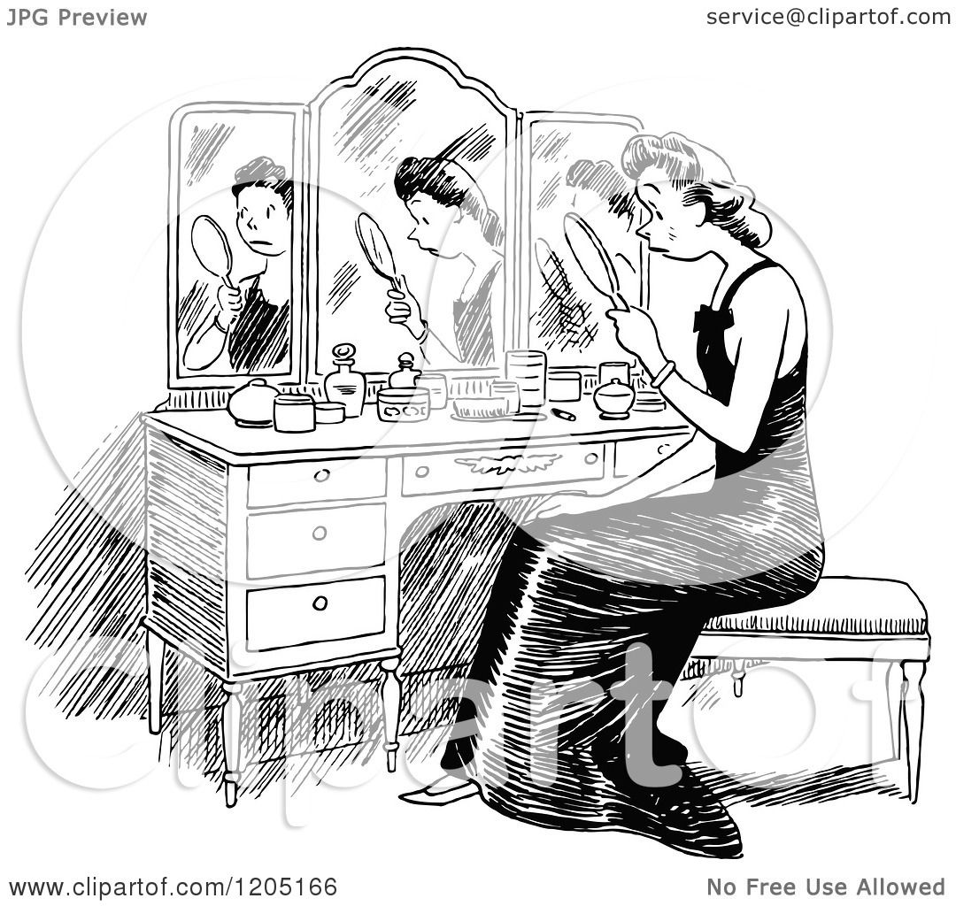 Cartoon Of A Vintage Black And White Sad Woman Looking At -8486