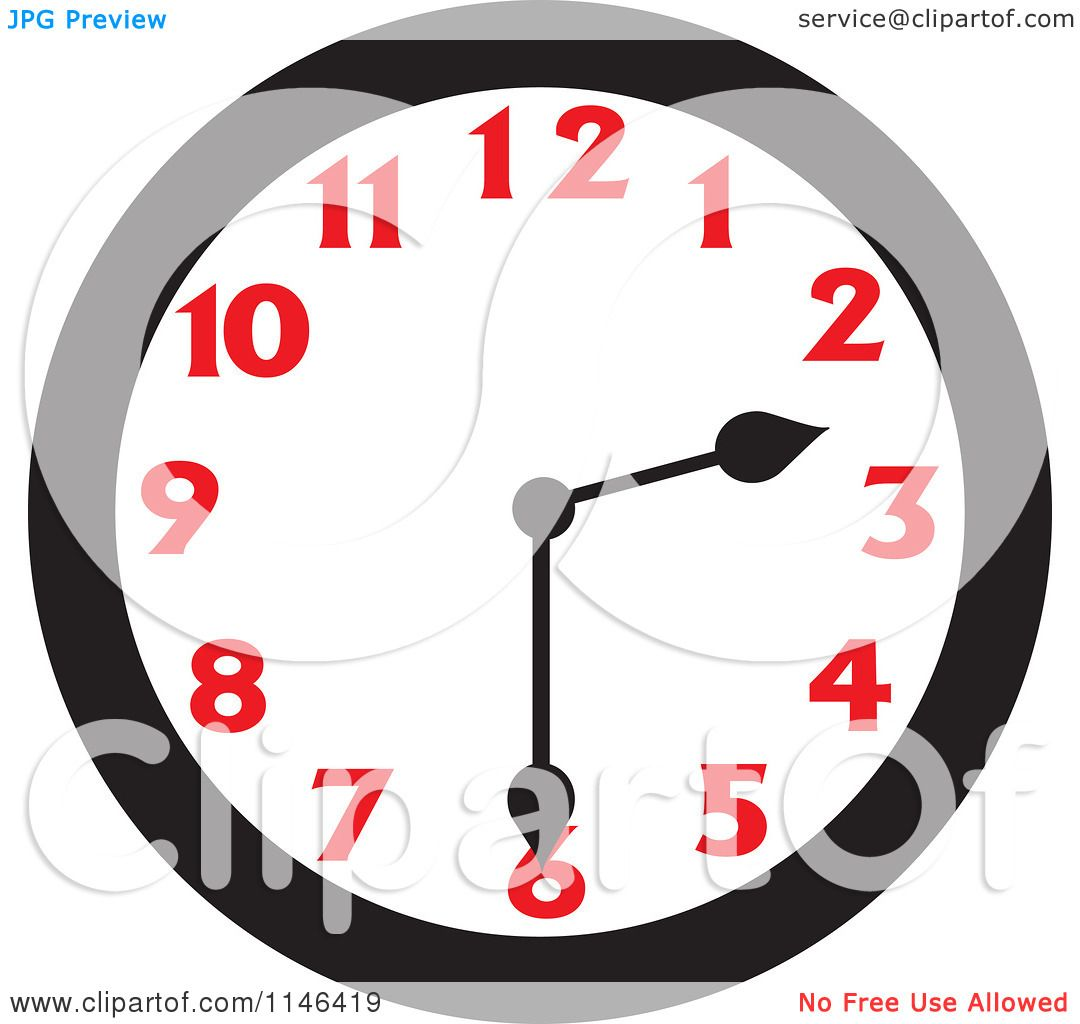 Cartoon Of A Wall Clock Showing 2 30 Royalty Free Vector