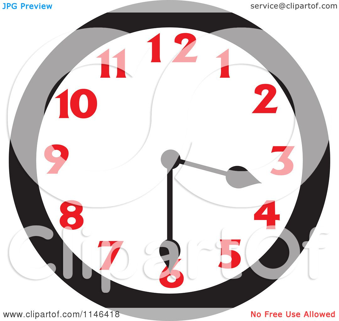 Cartoon Of A Wall Clock Showing 3 30 Royalty Free Vector Clipart By Johnny Sajem 1146418
