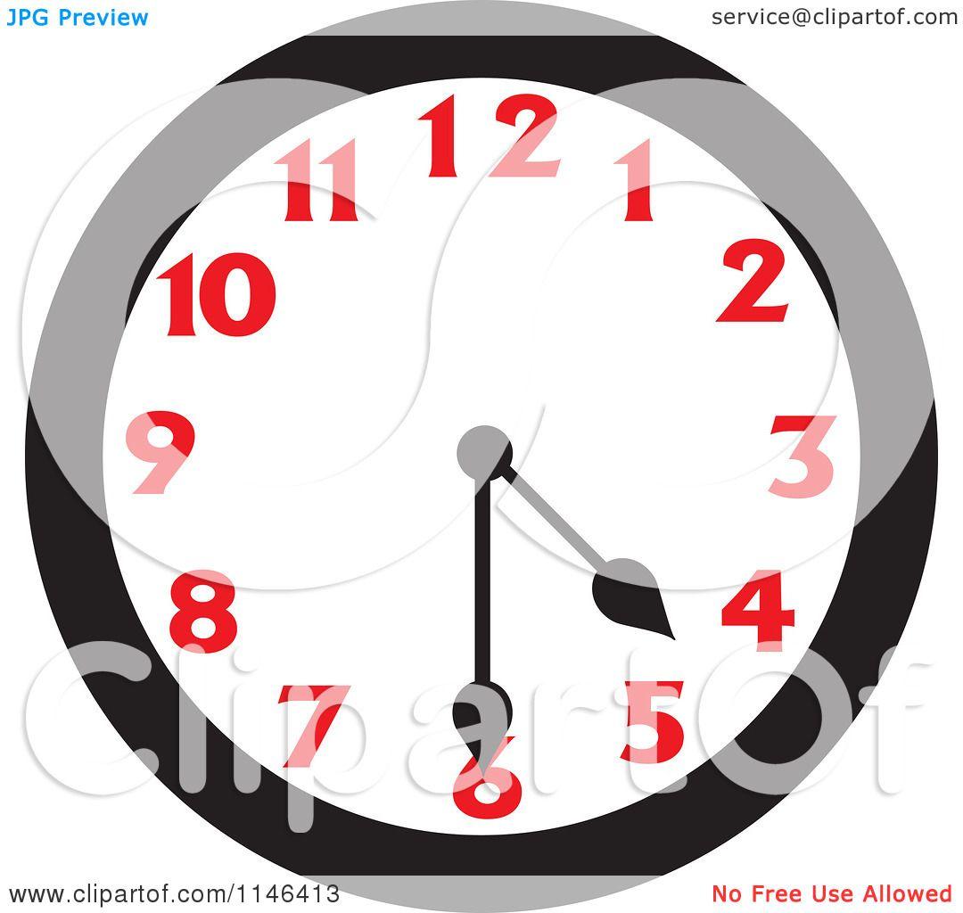Cartoon Of A Wall Clock Showing 4 30 Royalty Free Vector