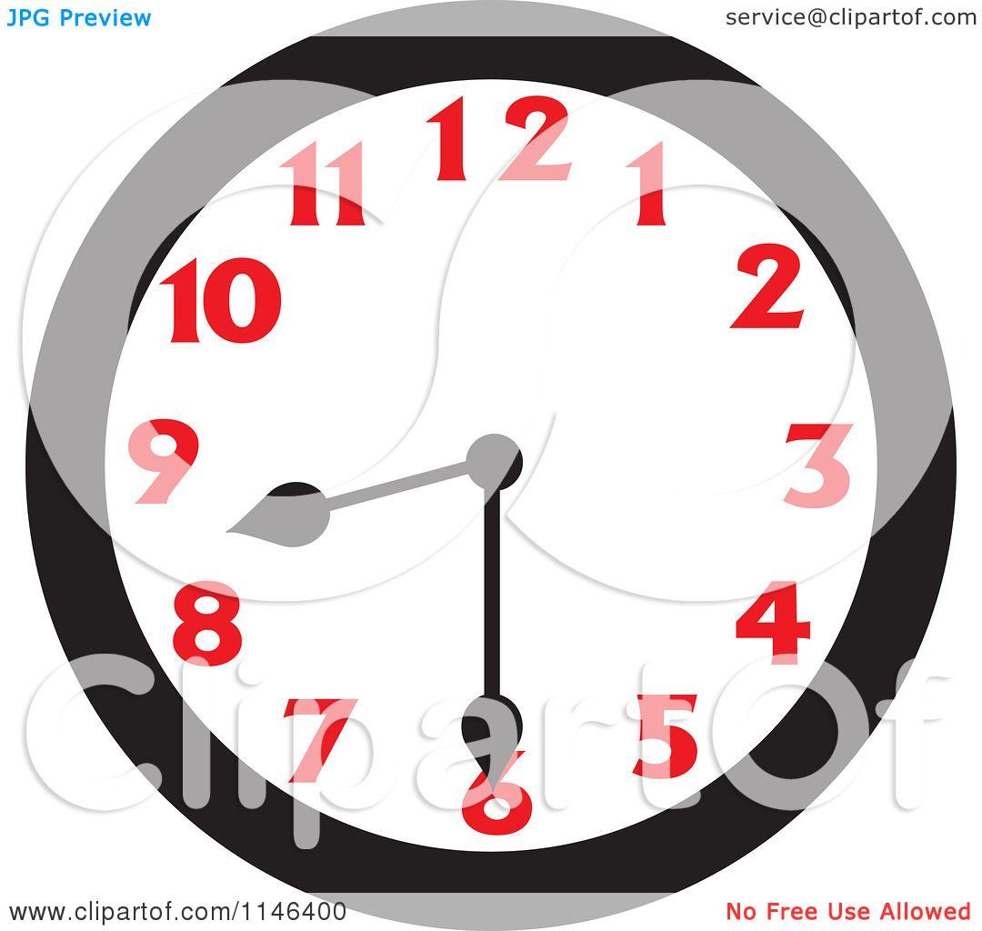 Cartoon Of A Wall Clock Showing 8 30 Royalty Free Vector