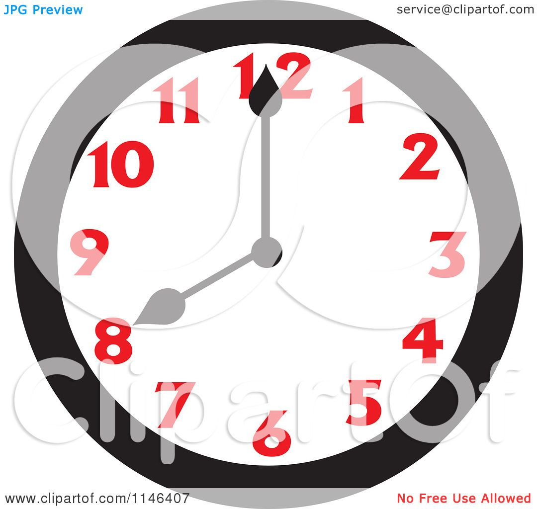 cartoon of a wall clock showing 8 royalty free vector clipart by rh clipartof com Quarter Past Analog Clock Quarter Past Analog Clock