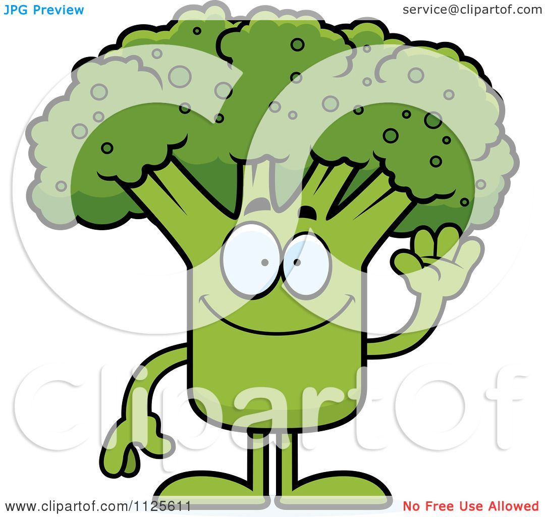 Cartoon Of A Waving Broccoli Mascot - Royalty Free Vector Clipart by ...