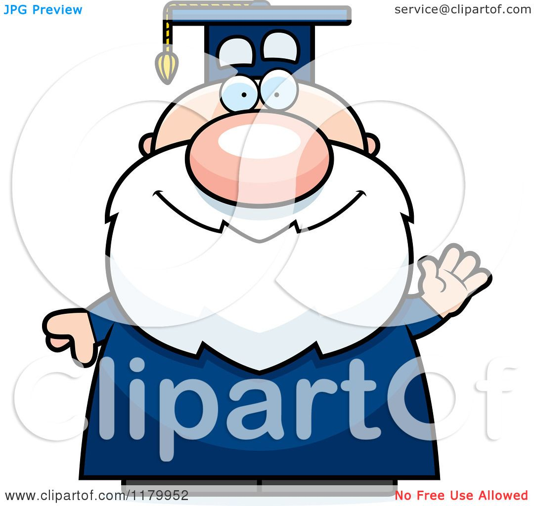 Cartoon of a Waving Chubby Professor in a Graduation Gown - Royalty ...
