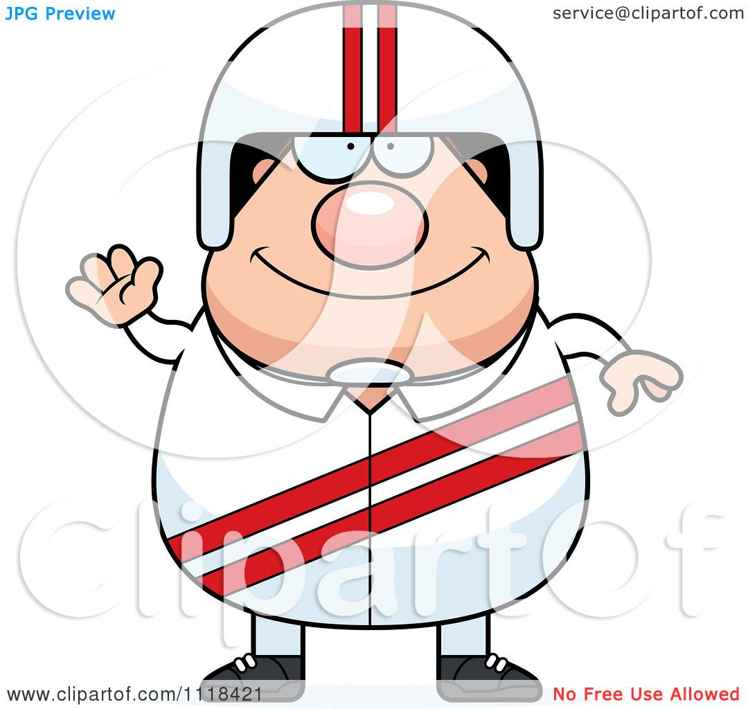 Cartoon Of A Waving Friendly Race Car Driver - Royalty Free Vector ...