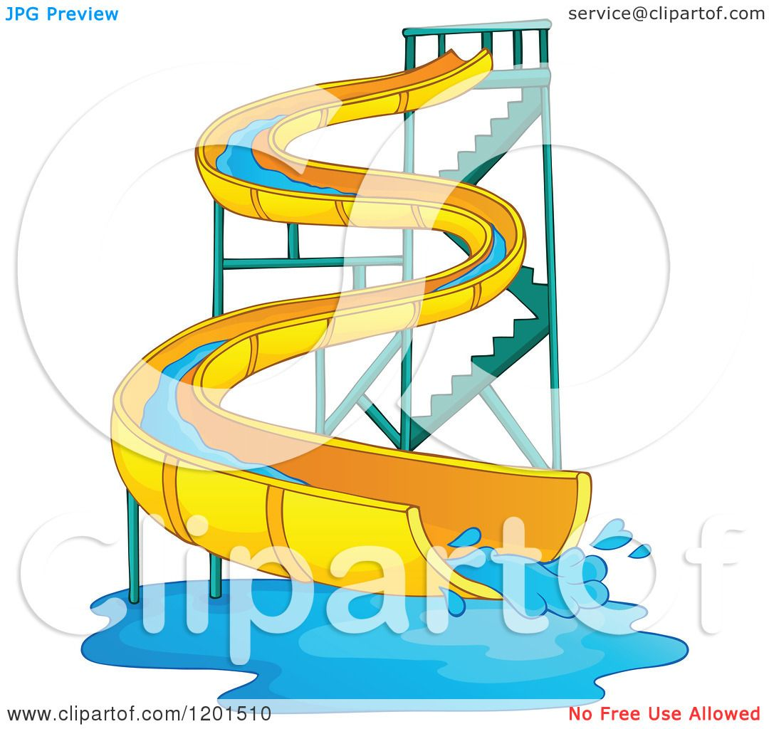 Cartoon of a Wavy Water Park Slide - Royalty Free Vector ...