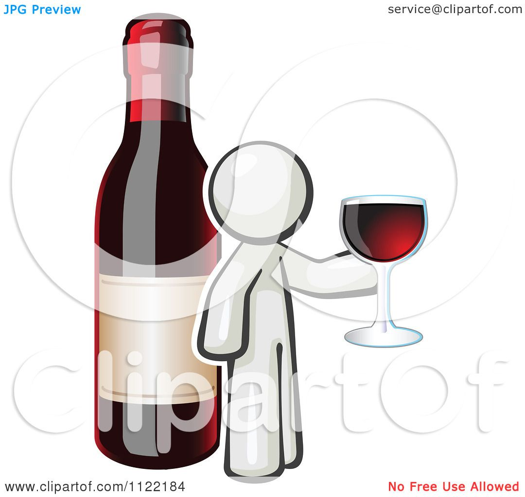 Cartoon Of A White Man Wine Tasting By A Giant Bottle ...