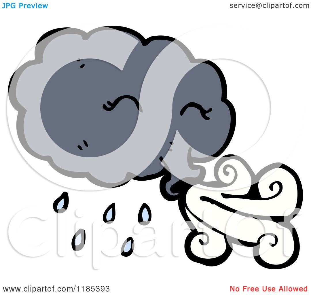 Cartoon Of A Windy Storm Cloud Royalty Free Vector