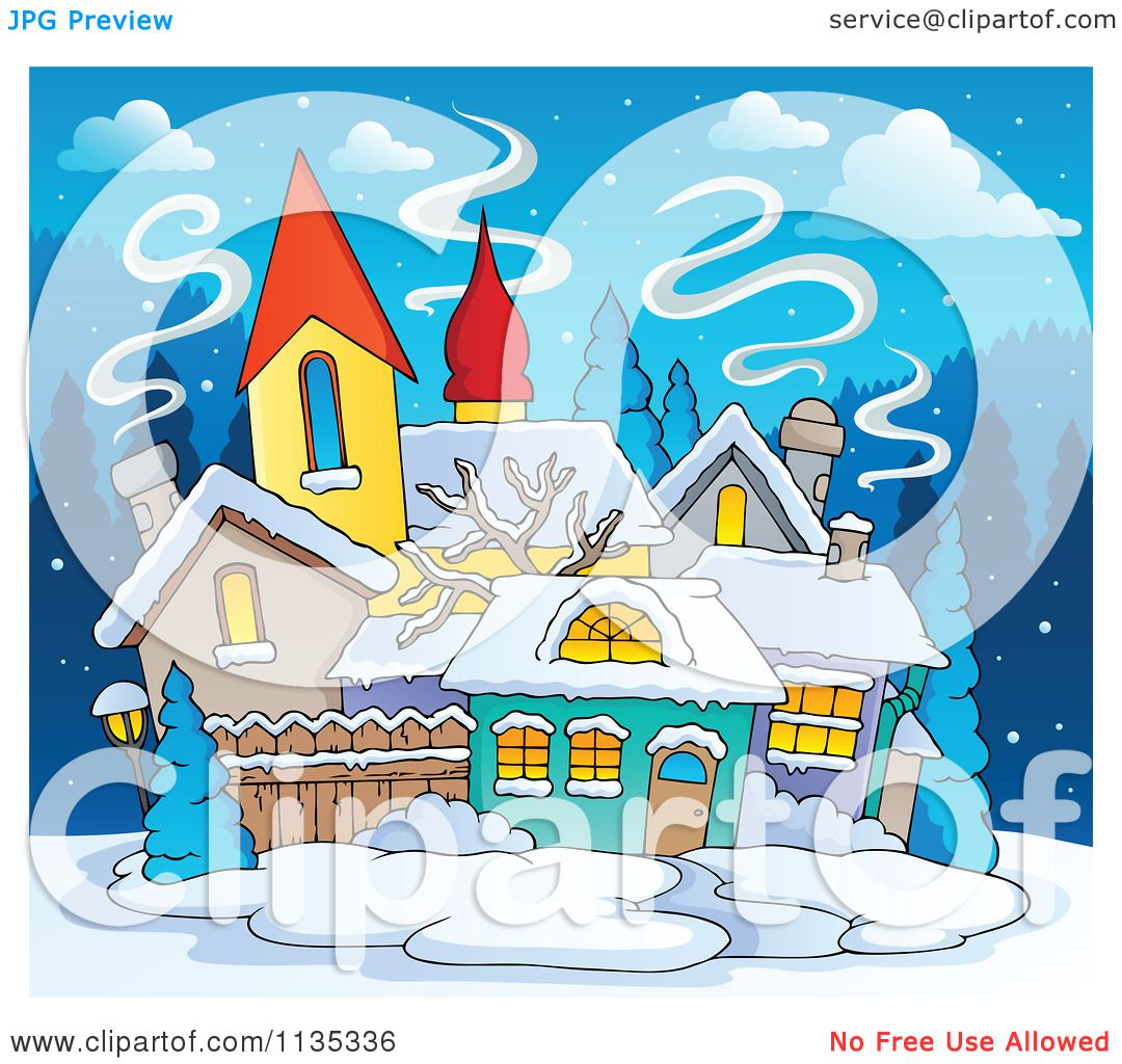 Cartoon Of A Winter Village With Snow At Night Royalty