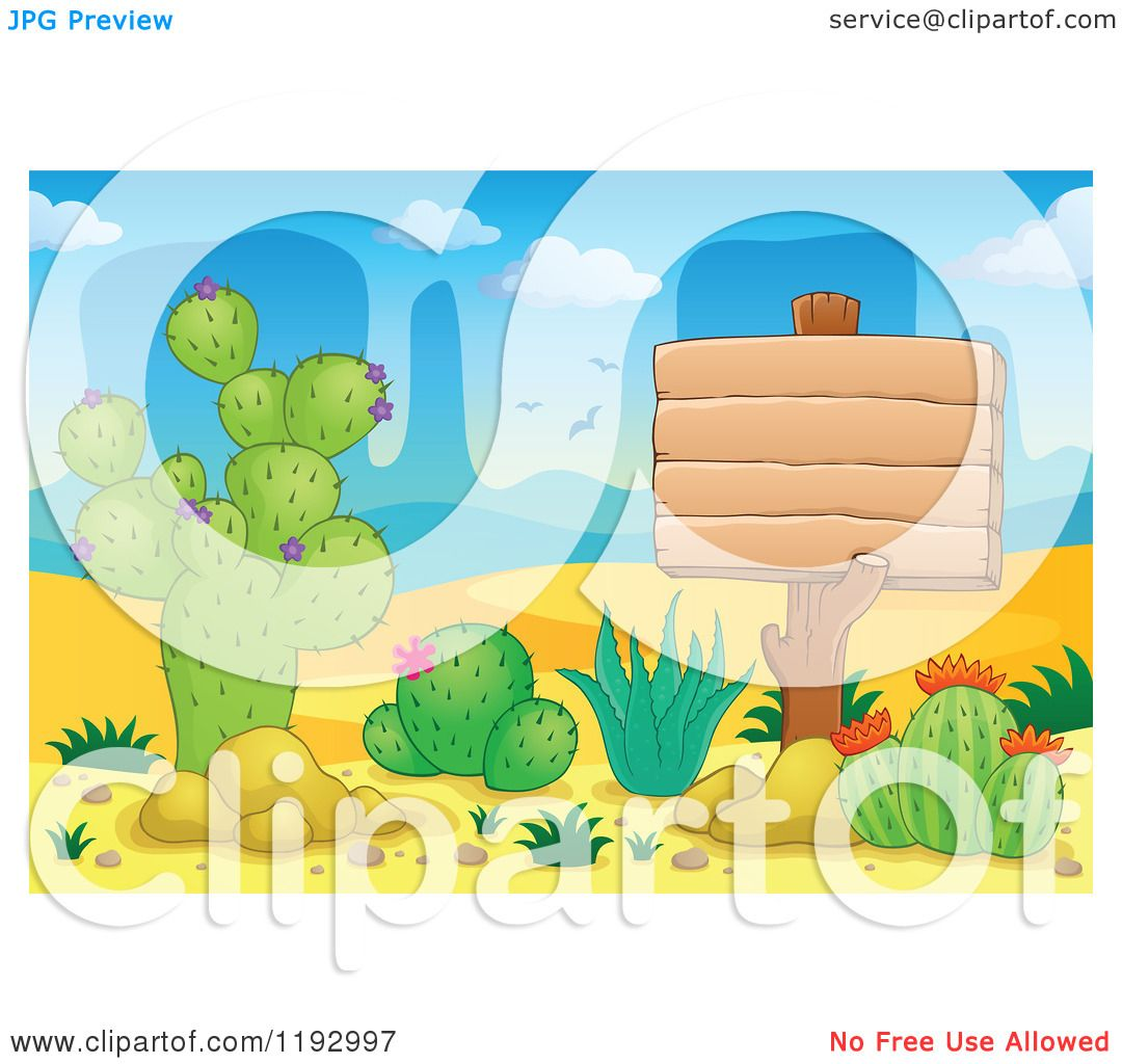 Cartoon of a Wooden Sign and Cacuts Plants in the Desert ...