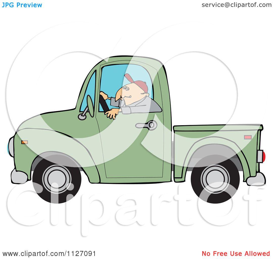 Green truck clipart royalty free rf pickup truck clipart - Cartoon Of A Worker Driving A Green Truck Royalty Free Vector Clipart By Djart
