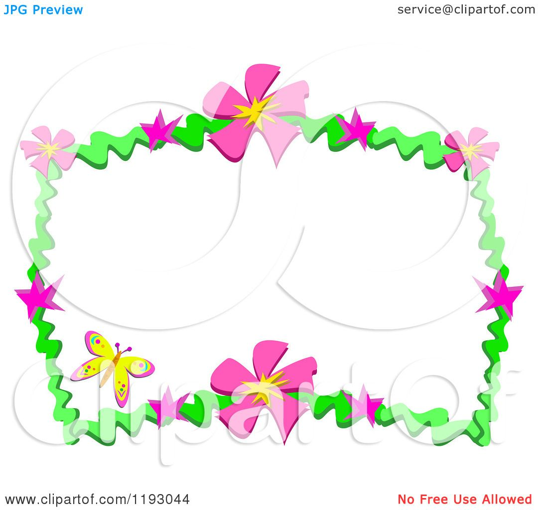 Cartoon of a yellow butterfly and frame of pink flowers and green cartoon of a yellow butterfly and frame of pink flowers and green waves royalty free vector clipart by bpearth mightylinksfo