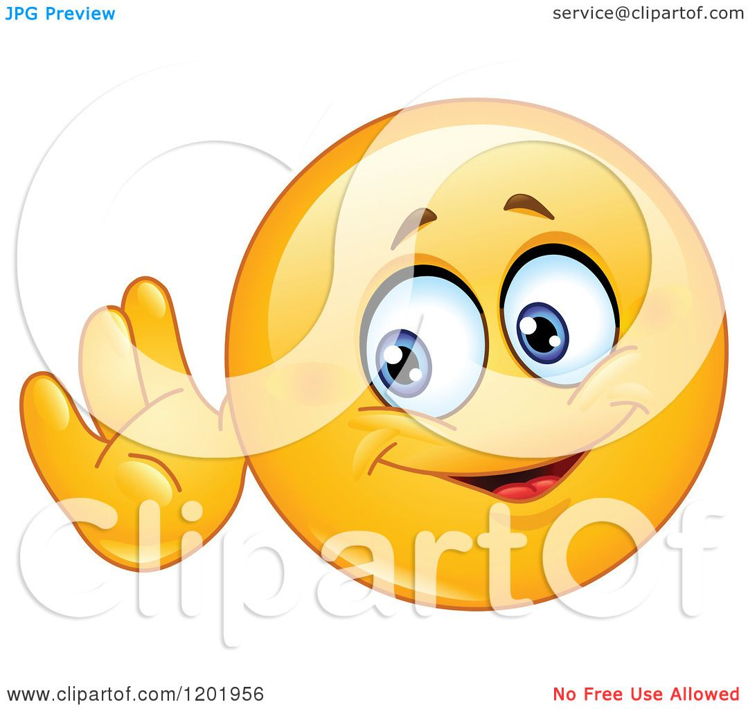 Cartoon Of A Yellow Emoticon Smiley Cupping His Ear And