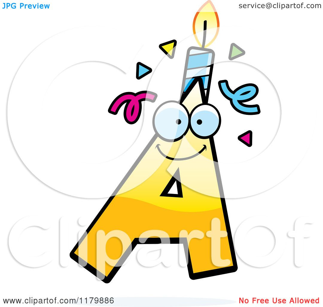 Cartoon Of A Yellow Letter Birthday Candle Mascot