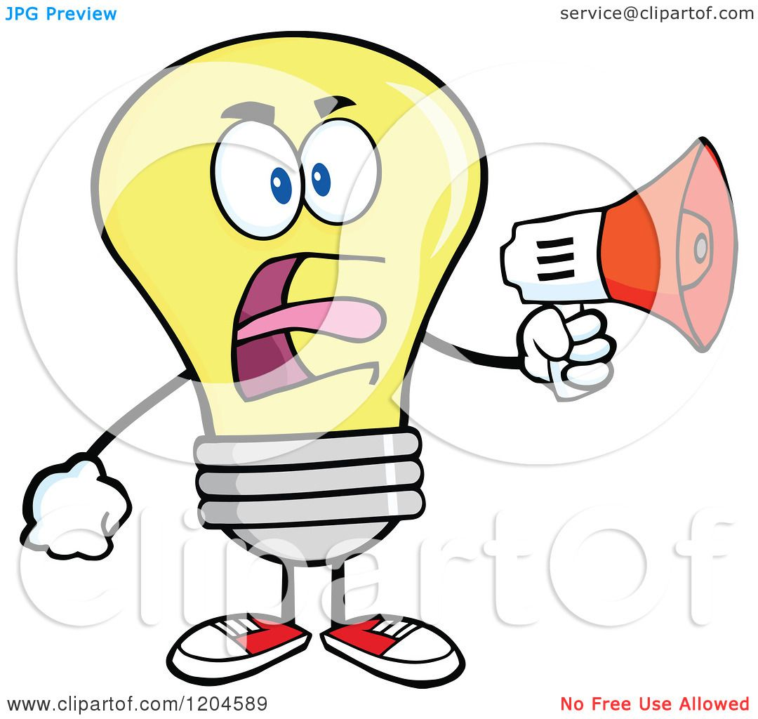 Cartoon Of A Yellow Light Bulb Mascot Announcing With A