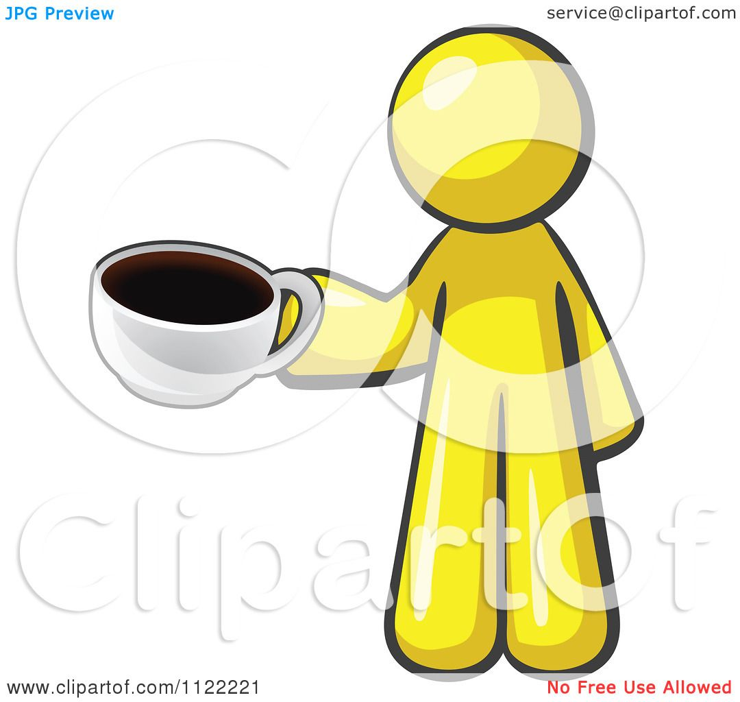 Cartoon Of A Yellow Man With A Cup Of Coffee - Royalty ...