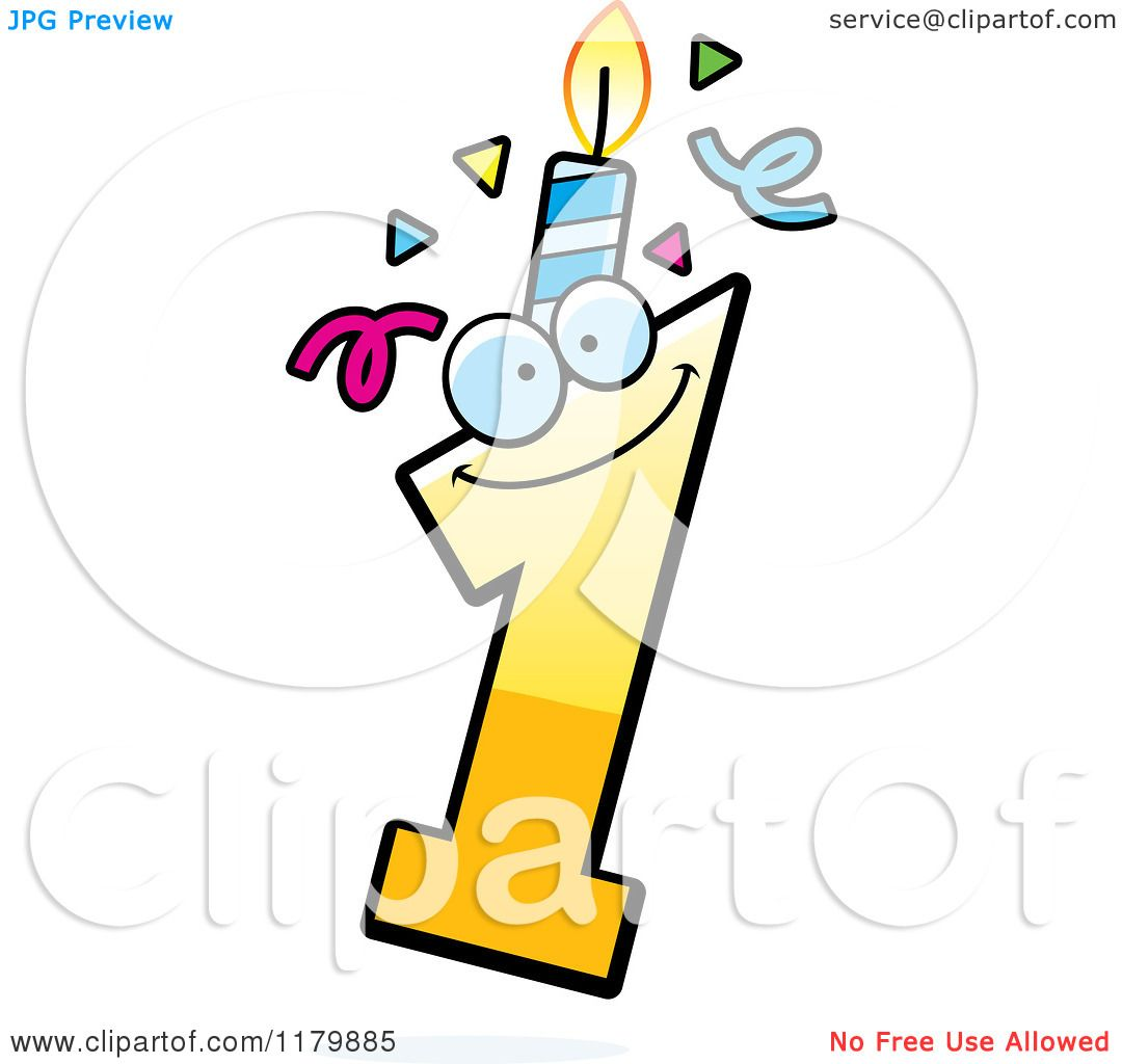 One Birthday Candle Clipart Cartoon of a Ye...