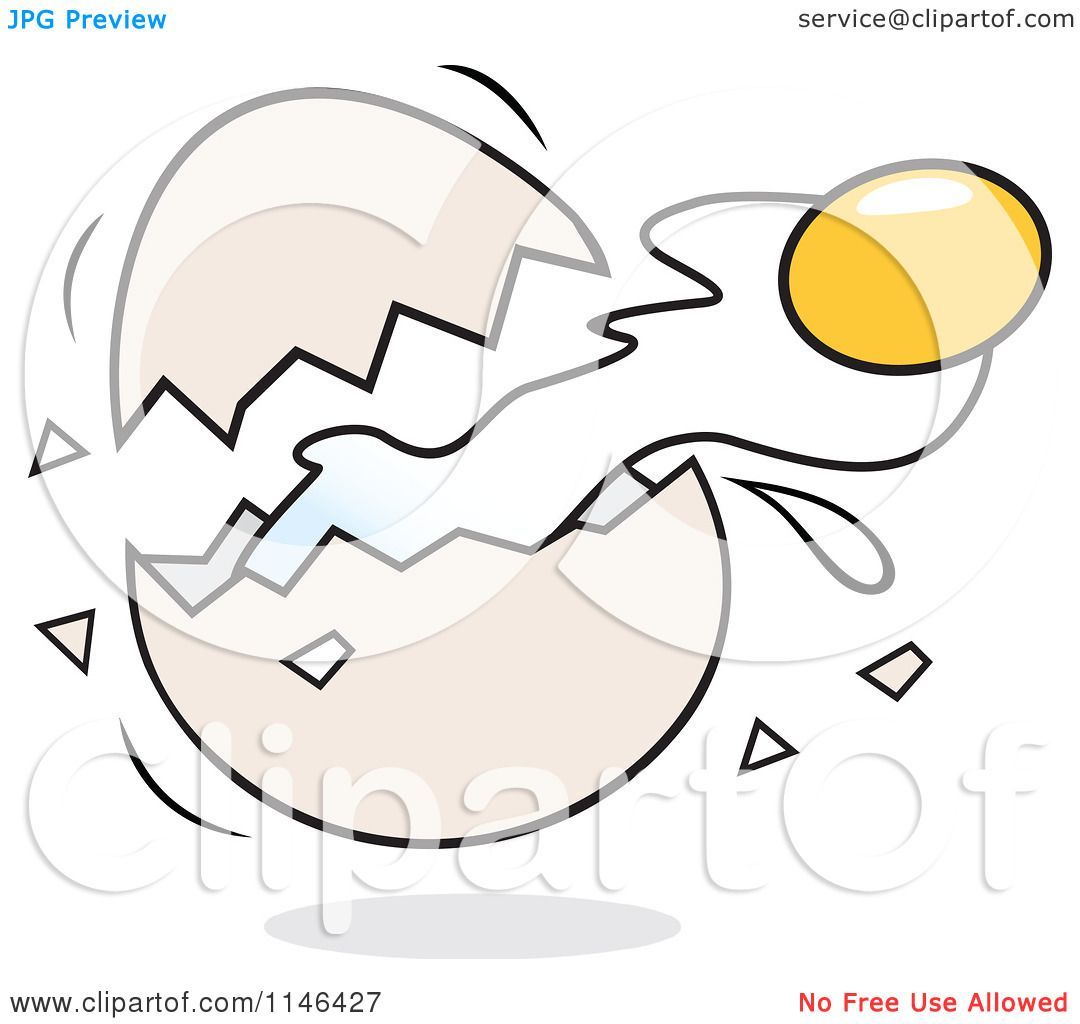 Cartoon of a Yolk Flying from a Cracked Egg - Royalty Free