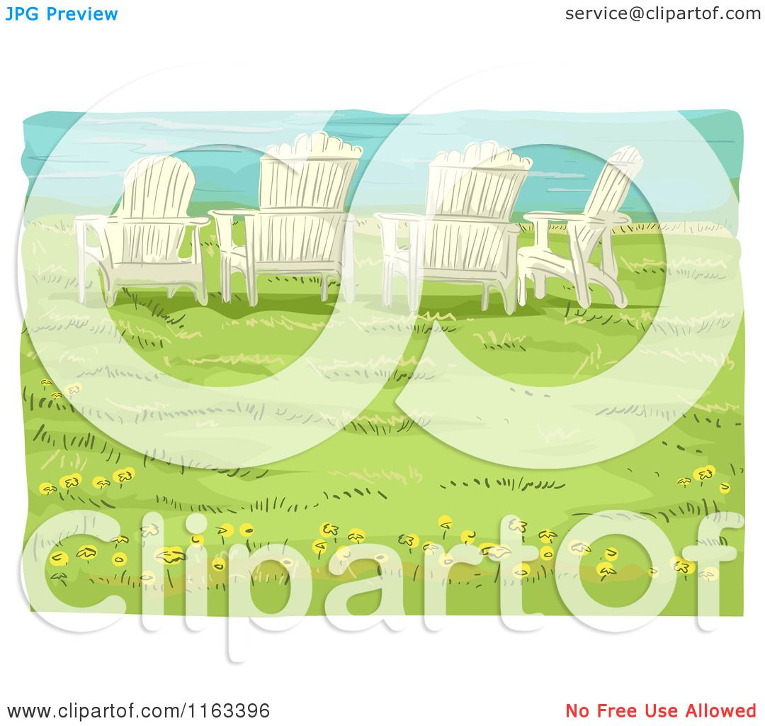 Adirondack chairs on beach sepia - Cartoon Of Adirondack Chairs On A Bluff Over A Beach Royalty Free Vector Clipart By Bnp
