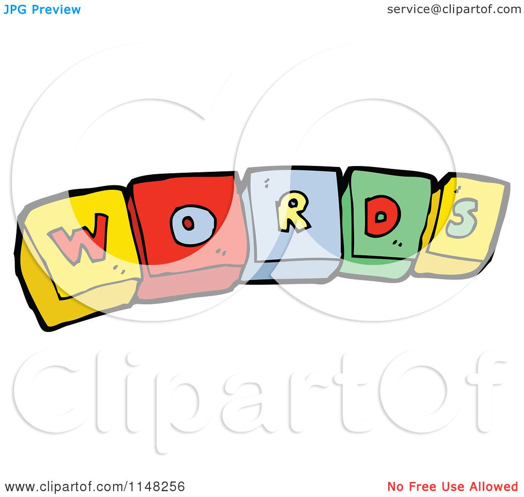 Cartoon of alphabet letter blocks spelling words royalty for Clipart words