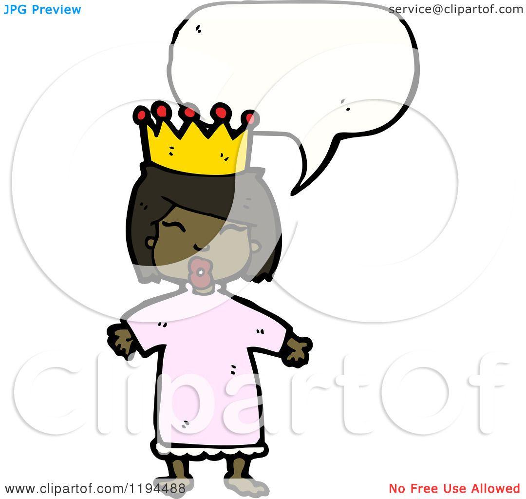Cartoon Of An African American Queen Speaking Royalty