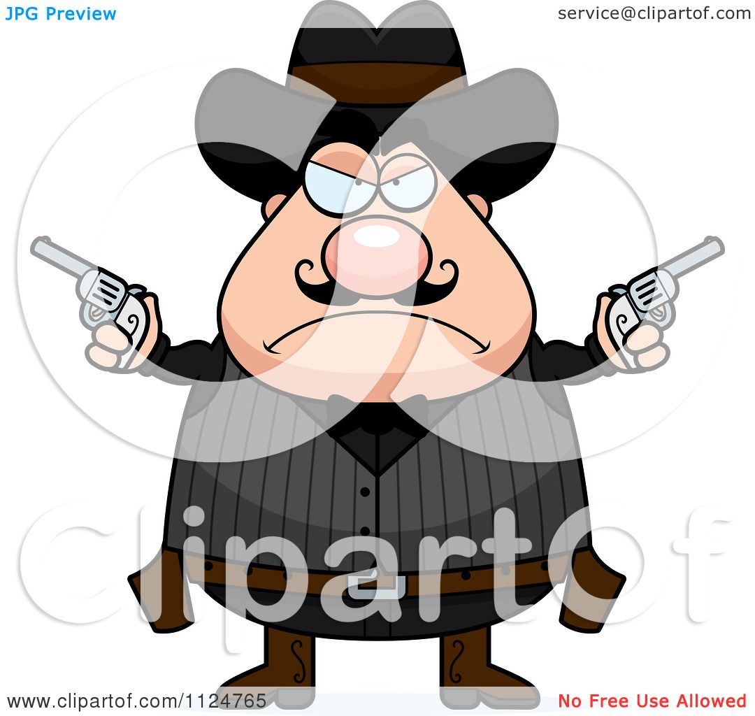 Cartoon Of An Angry Chubby Male Wild West Cowboy Holding Pistols ...