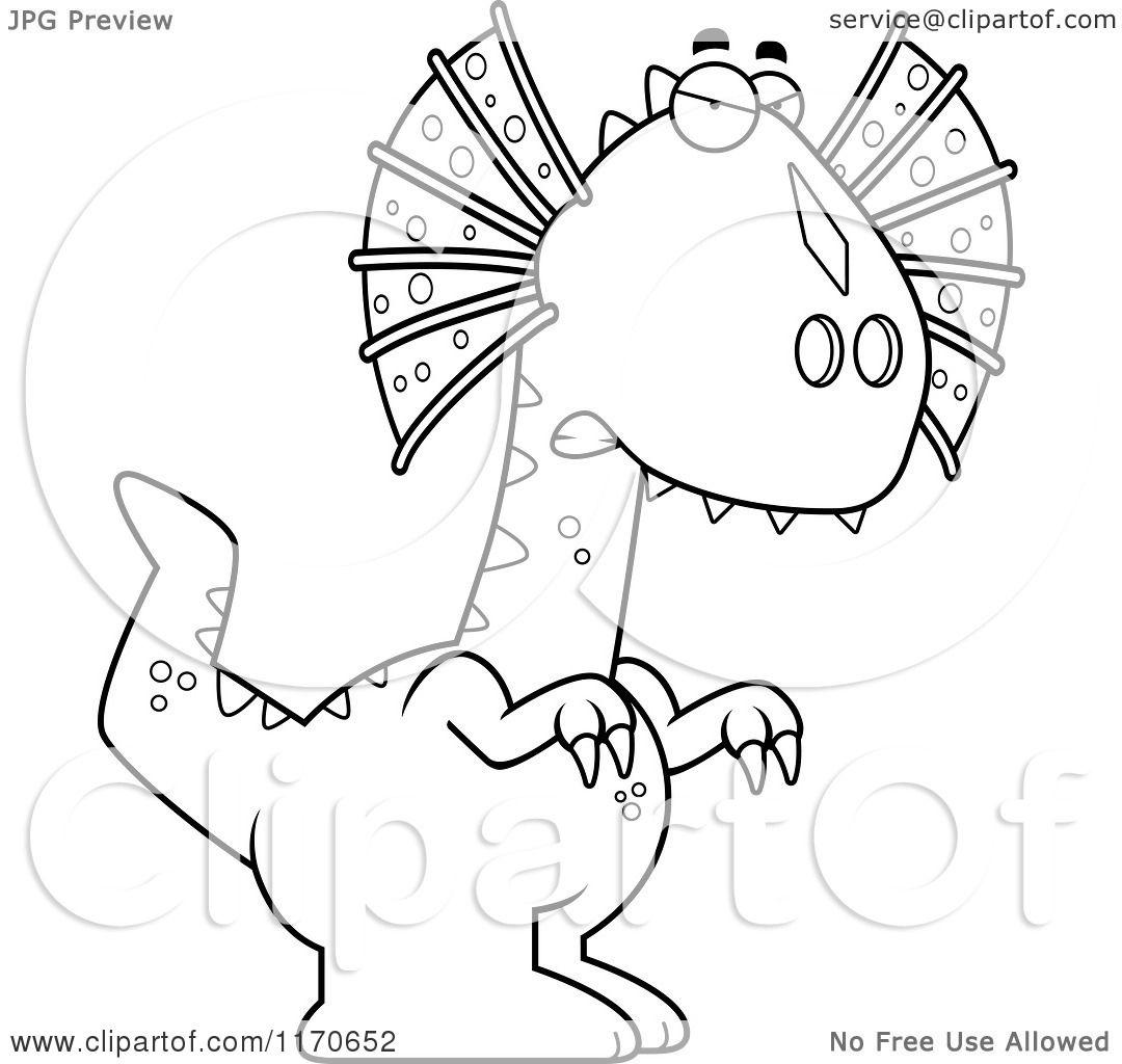 Cartoon of an Angry Dilophosaurus Dinosaur - Vector Outlined ...