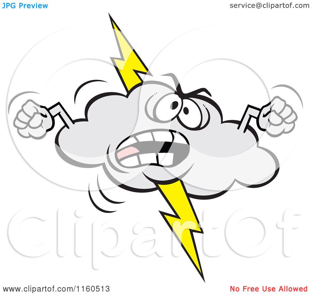 Cartoon of an Angry Lightning Storm Cloud Mascot Waving ...