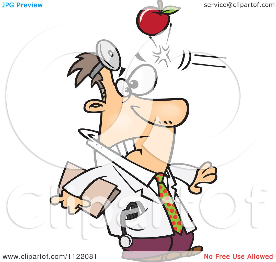 cartoon of an apple hitting a doctor in the head royalty free