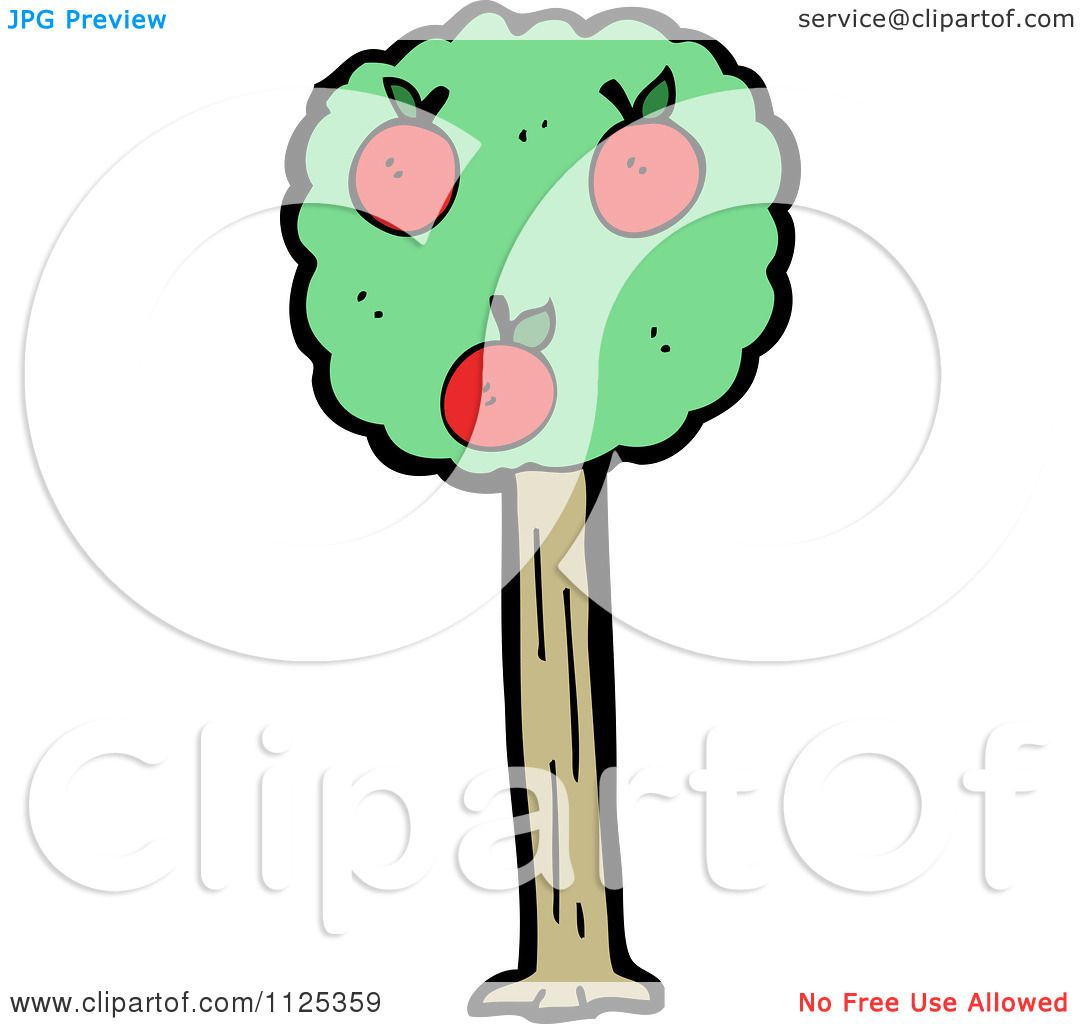 Cartoon Of An Apple Tree 1 - Royalty Free Vector Clipart by ...