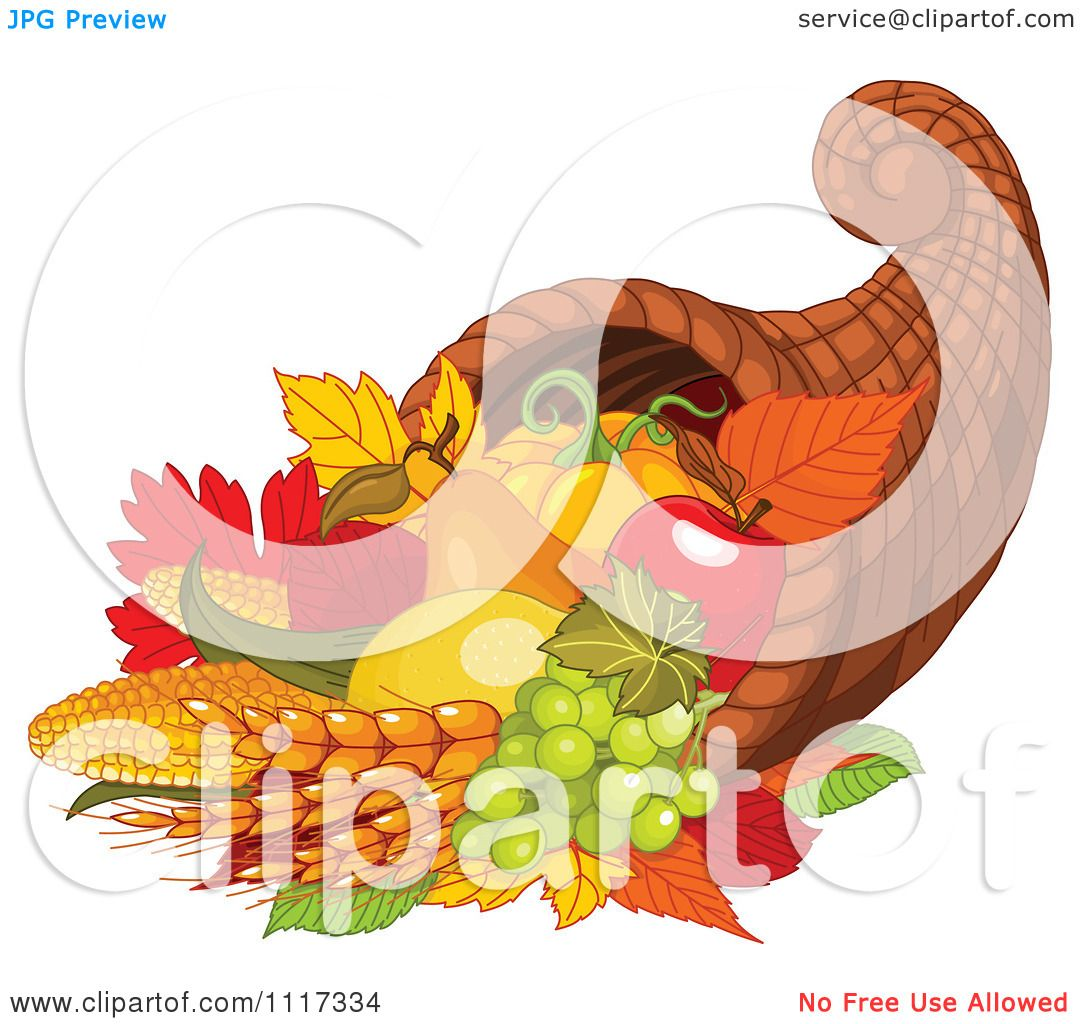 cartoon of an autumn harvest cornucopia with wheat fruits and