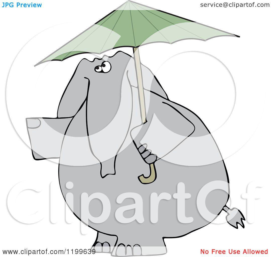 Cartoon of an Elephant with a Green Umbrella - Royalty ...