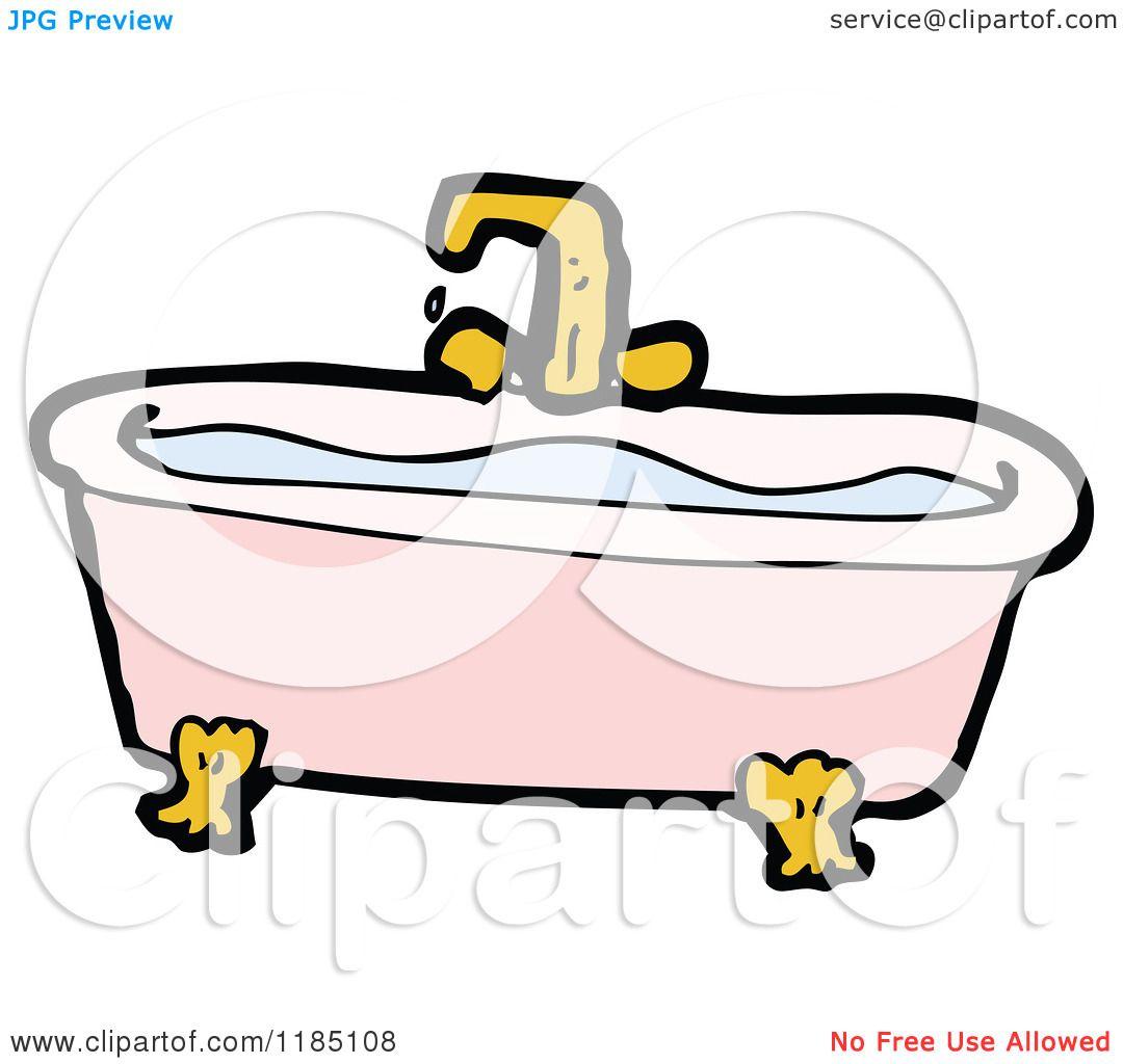 Cartoon Of An Old Fashioned Bathtub