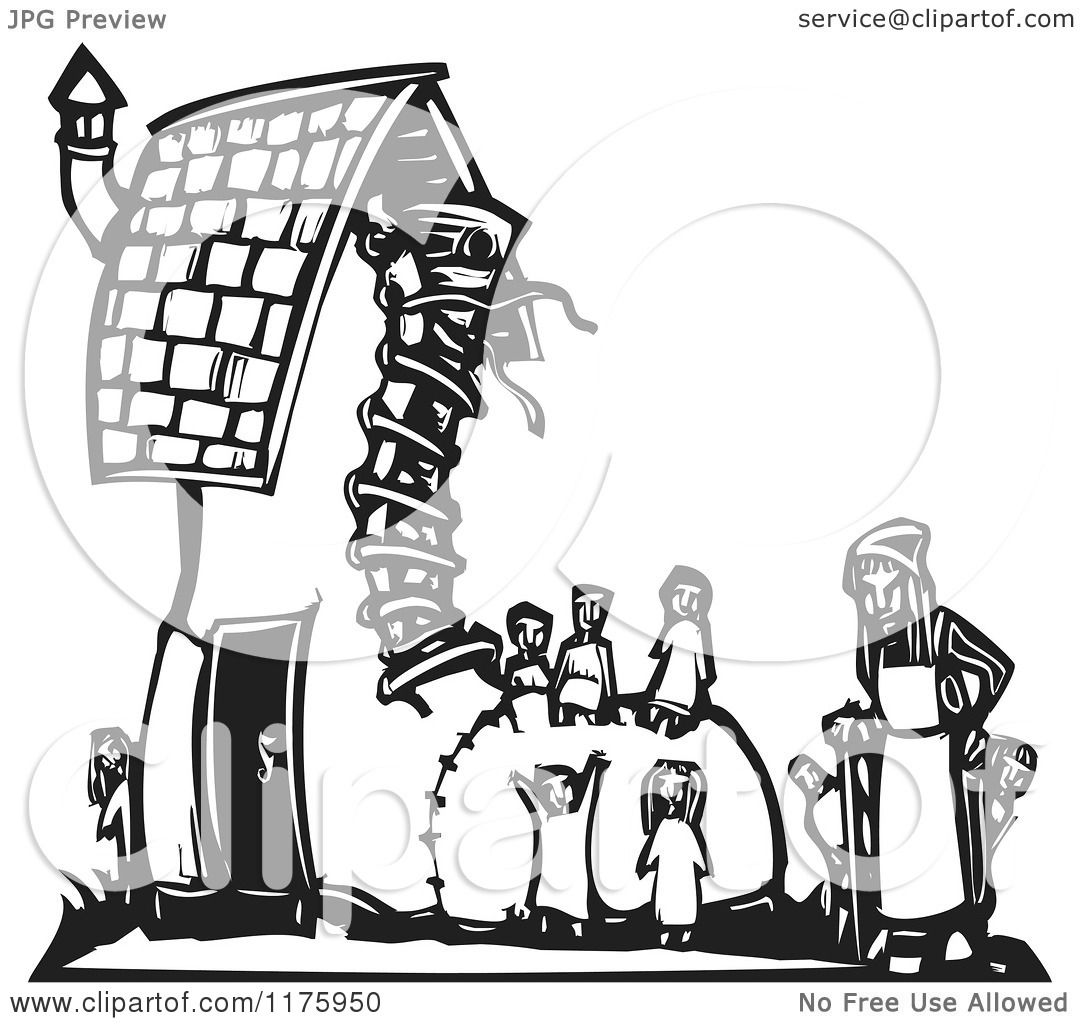 Cartoon Of An Old Woman With Kids At A Shoe House Black -1095