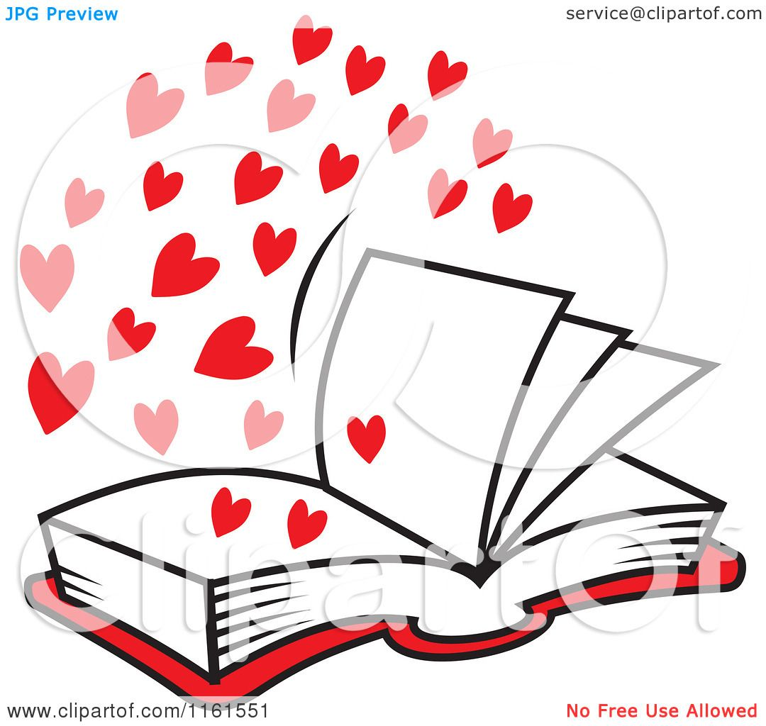 Cartoon of an Open Book of Love with Red Hearts - Royalty ...